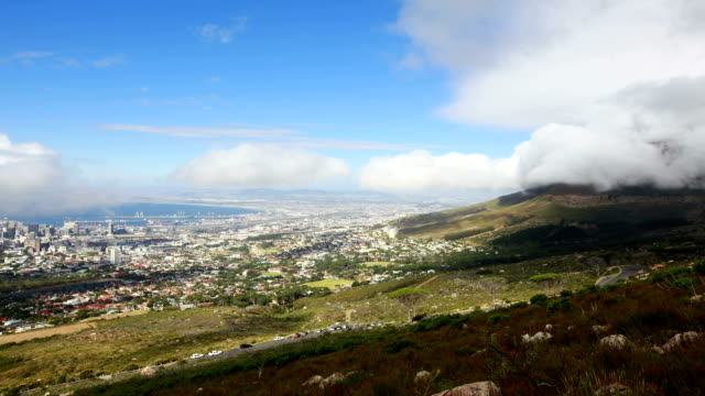 time-lapse of  cape town and table mountain time lapse of cloud move of cape town and table mountain cape peninsula stock videos & royalty-free footage