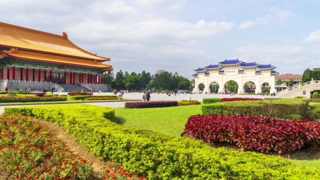 4K Timelapse of Chiang Kai Shek Memorial hall in Taipei City, Taiwan video