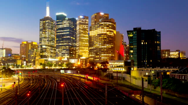 Timelapse of city and railway at night video
