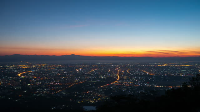 Time-lapse of city at sunrise time in the morning , Aerial View video