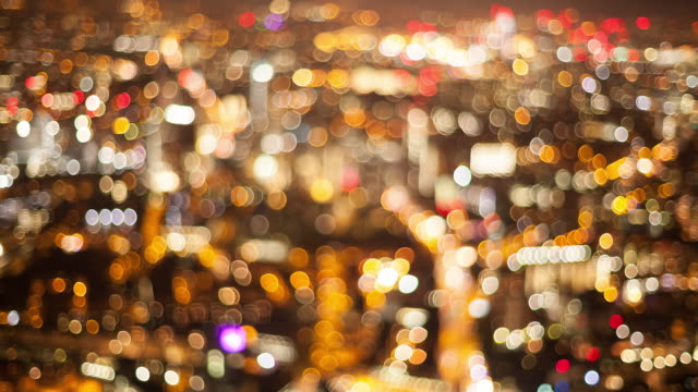timelapse of city lights out of focus - soft focus video stock e b–roll