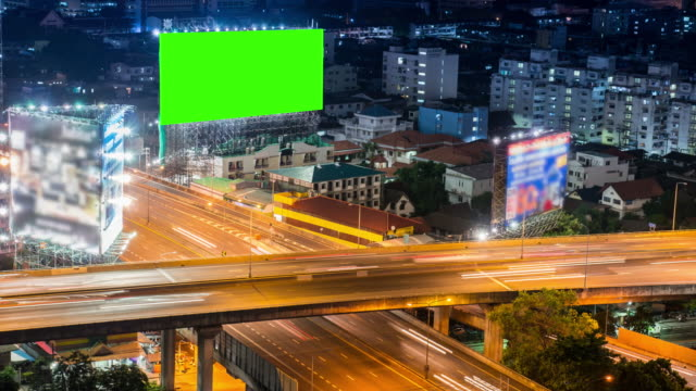 Time-lapse of Cityscape in Bangkok city with chroma key green screen technology video