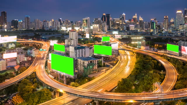 Time-lapse of Cityscape in Bangkok city with chroma key green screen video