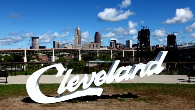 Timelapse van Cleveland belettering voor centrum video