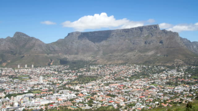 Timelapse of clouds moving over top of Table Mountain in Cape Town, South Africa, daytime with Cape Town city bowl visible video