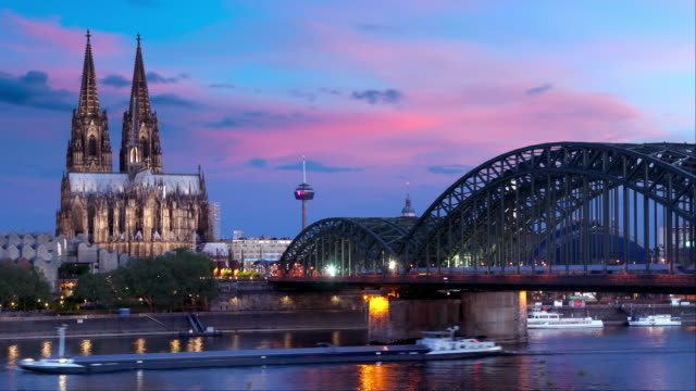 timelapse of cologne (köln) germany - gothic architecture stock videos & royalty-free footage
