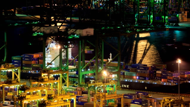 Time-lapse of Commercial port of Singapore video