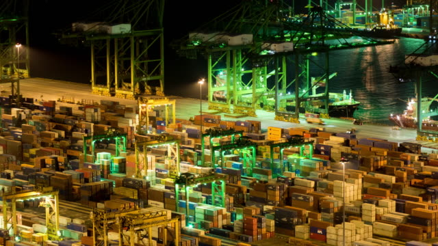 Time-lapse of container yard operations video