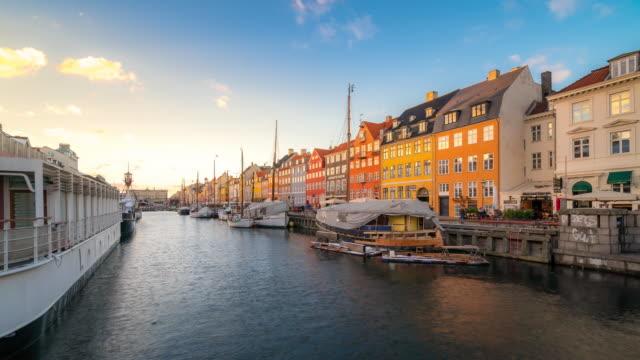 Time-lapse of Copenhagen nyhavn new port of Denmark video
