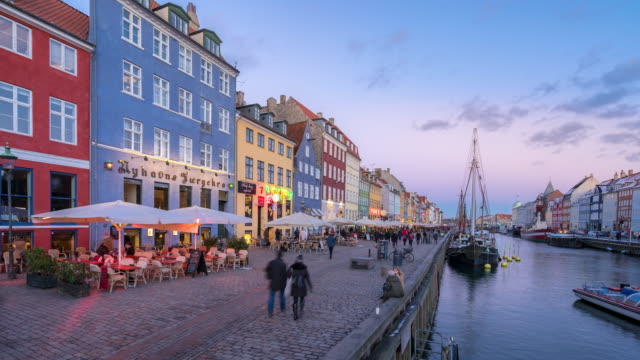 Time-lapse of Copenhagen nyhavn new port of Denmark video