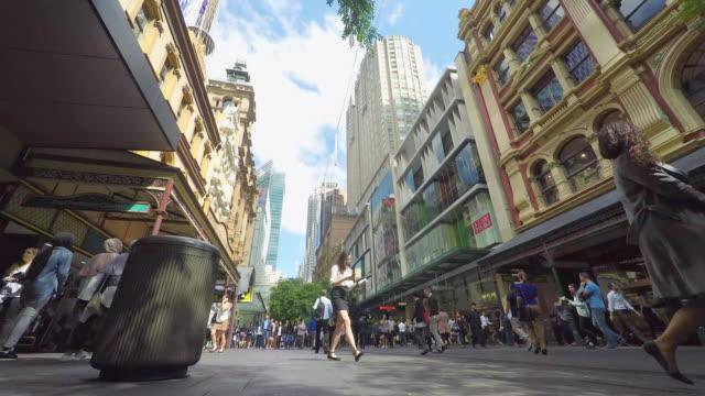 Timelapse of Crowd of People Walking in the Pitt Street Mall in Sydney video