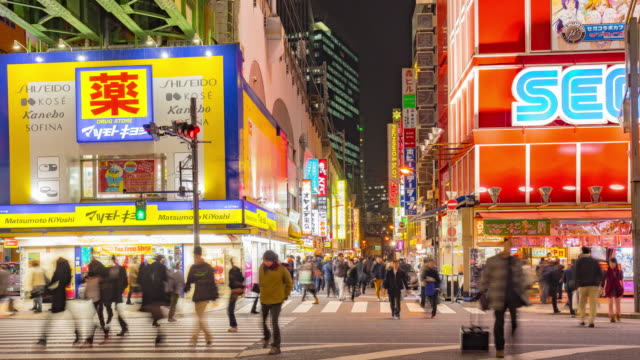 4K Time-lapse of Crowds cross the road in Akihabara near sega building. The district has evolved into a shopping area for video games, anime, manga, and computer goods. video
