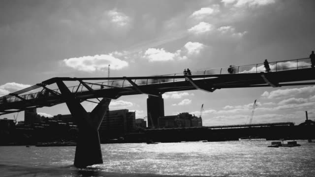 Timelapse of crowds on Millenium bridge. London HD video video