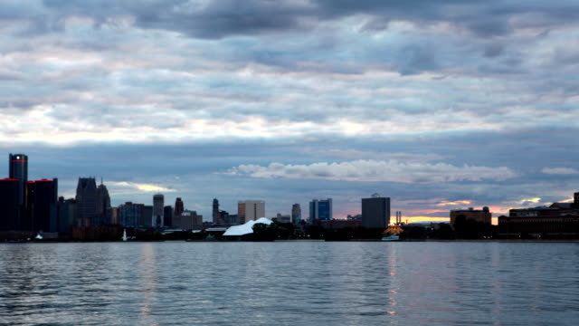 Timelapse of Detroit Skyline from Belle Isle day to night video