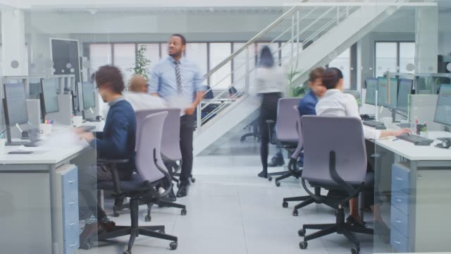 timelapse of diverse multinational team of business managers and specialists working on desktop computers, have discussion with colleagues. young and motivated business people in modern open office. - office stock videos & royalty-free footage