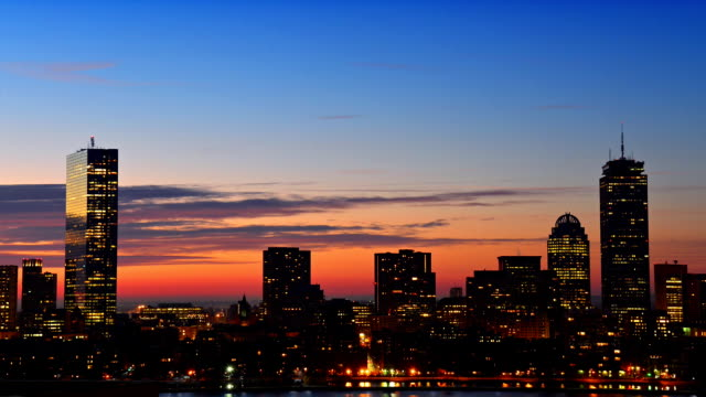 Timelapse of dramatic sunrise over Boston downtown video