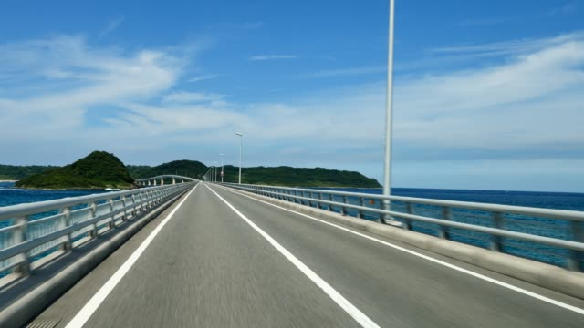 timelapse of driving on tsunoshima bridge in Japan video