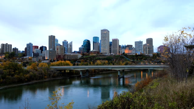 Timelapse of Edmonton, Canada City Center in fall video