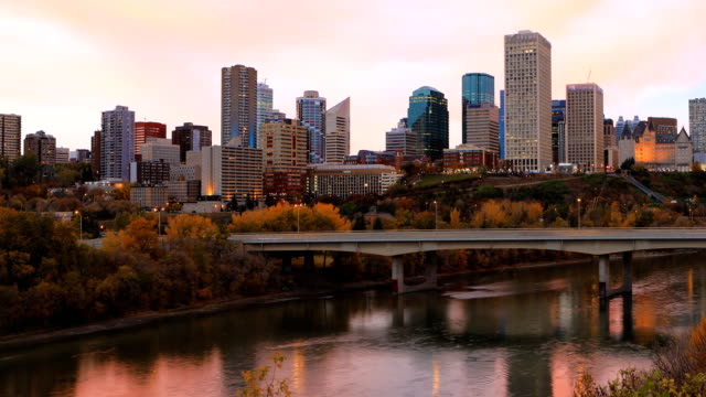 Timelapse of Edmonton, Canada downtown in fall video