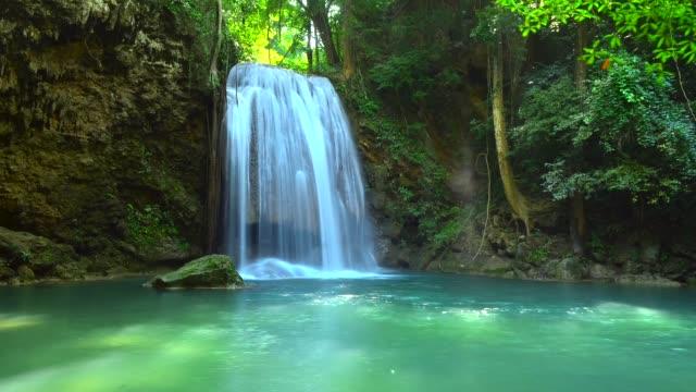 time-lapse of Erawan waterfalls in Kanchanaburi, Thailand video