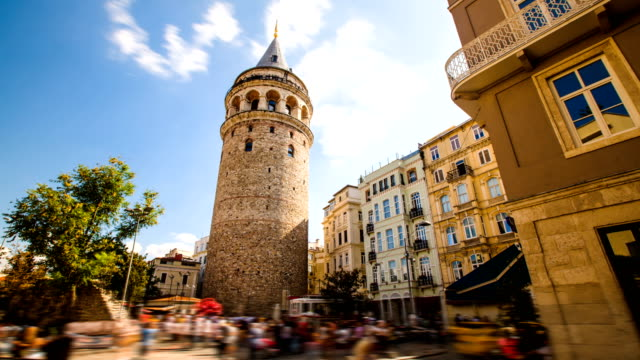 Timelapse of famous tourist place Galata tower in Istanbul in Turkey video