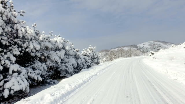 Timelapse of fast sport car drive on winter snow road, mountain uphill video