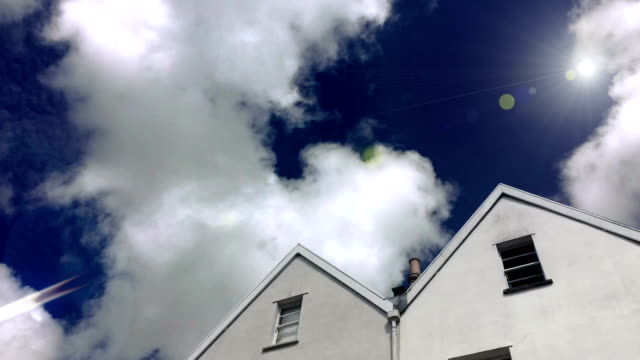 Timelapse of Fluffy Clouds behind Residential Houses video