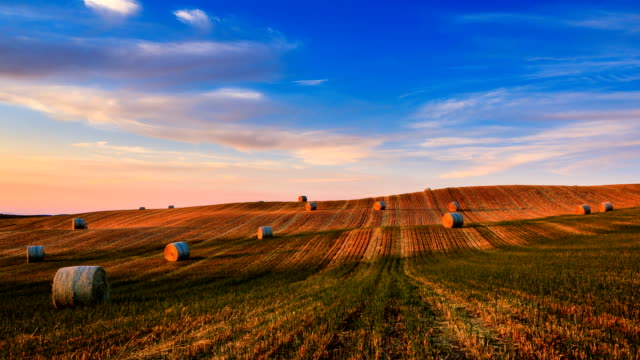 Timelapse of hay bales on the field at sunset, Tuscany, Italy Timelapse of hay bales on the field at sunset, Tuscany, Italy prairie stock videos & royalty-free footage