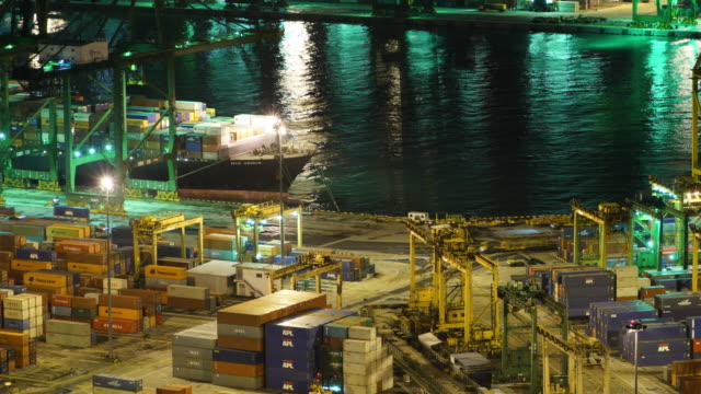 Timelapse of High angle view of cargo containers at commercial dock video