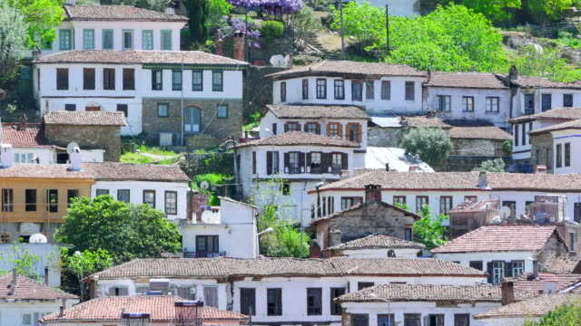 Timelapse of Historical White Houses, Sirince Village, Turkey, zoom out video