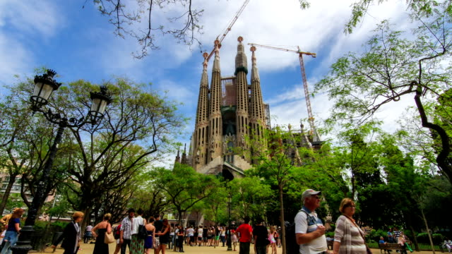Timelapse of iconic tourist attraction in Barcelona, Sagrada Familia Cathedral video