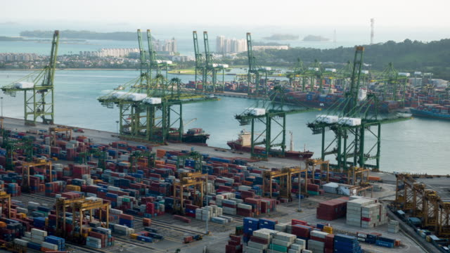 Time-lapse of Industrial port in Singapore video