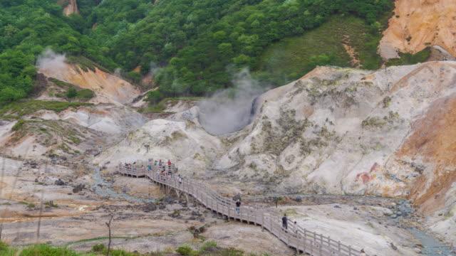 stockvideo's en b-roll-footage met timelapse van jigokudani valley of hell valley in noboribetsu, hokkaido japan - {{asset.href}}