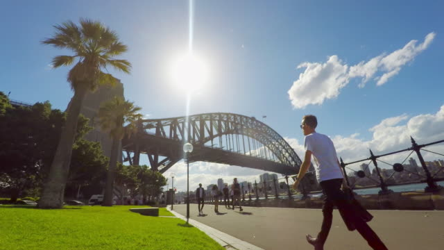 Timelapse of Joggers and Pedestrians by the Sydney Harbour Bridge
