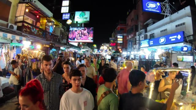 Timelapse of Khao San Road during night in Bangkok, Thailand Timelapse of Khao San Road during night in Bangkok, Thailand. Motionlapse. bangkok stock videos & royalty-free footage