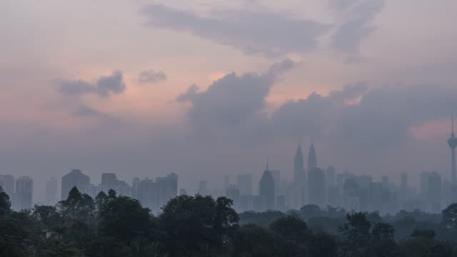 Time-lapse of Kuala Lumpur city centre skyline during haze and cloudy sunrise Kuala Lumpur twin towers and surrounding building view from a distance. Cloudy day dawn and sunrise. heat haze stock videos & royalty-free footage