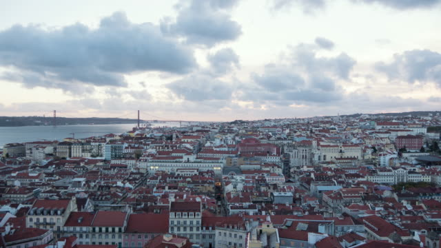 Timelapse of Lisbon Timelapse of Lisbon in the evening. ponte 25 de abril stock videos & royalty-free footage