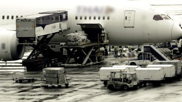 timelapse of loading cargo operation for commercial airplane - rozładowywać filmów i materiałów b-roll