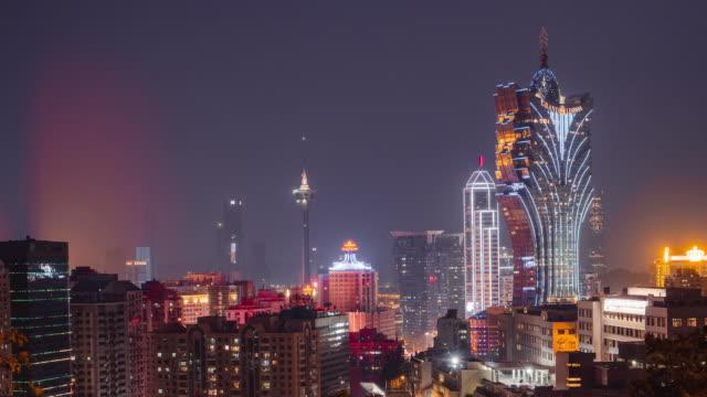 夕暮れ時の中国都市スカイライン、マカオのタイムラプス。 ビデオ