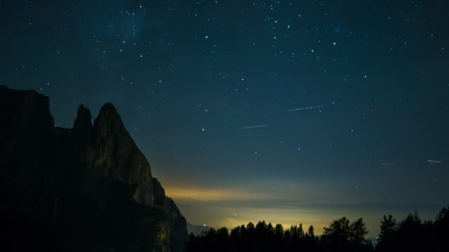 Time-lapse of milky way on the mountain video