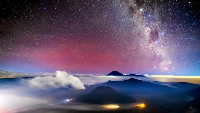4K Timelapse of Milkyway over Bromo volcano, East Java, Indonesia video