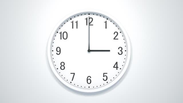Timelapse Of Modern Clock On White Wall.