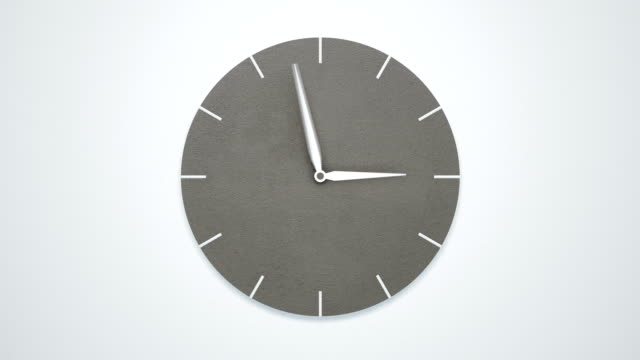 timelapse of modern minimalistic concrete clock on white wall. - timeline стоковые видео и кадры b-roll