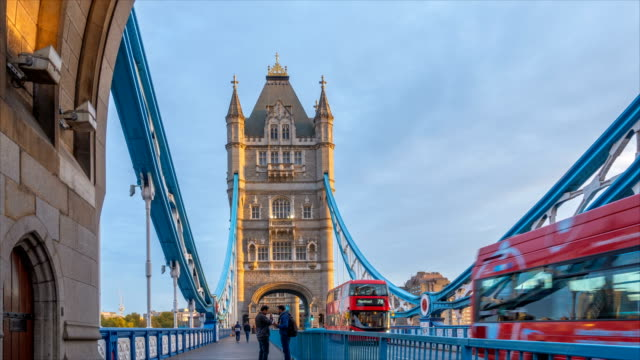 timelapse of morning traffic in london tower bridge, uk, england - london architecture stock videos & royalty-free footage