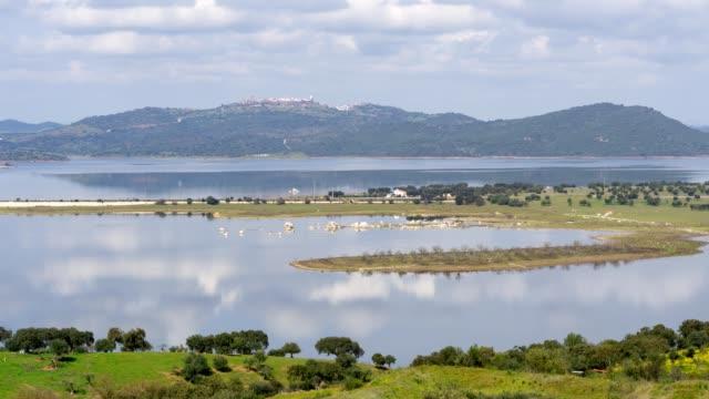 vídeos de stock e filmes b-roll de timelapse of mourao with the lake of alqueva dam and cars passing on the bridge in alentejo, portugal - vídeos de barragem portugal