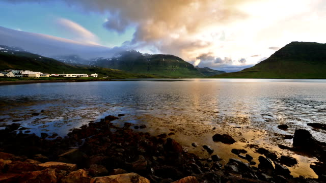 Timelapse of Moving cloud over Kirkjufell mountain, Iceland video