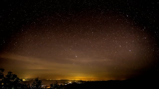 Timelapse of moving star trails in night sky.