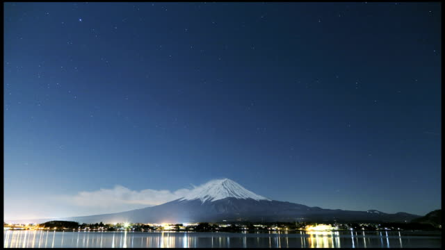 timelapse of Mt. Fuji at night video