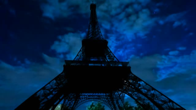 Timelapse of night sky and Eiffel Tower