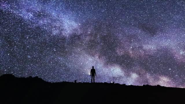 dağlarda samanyolu ve asteroit ile gece gökyüzü timelapse - yıldız şekli stok videoları ve detay görüntü çekimi